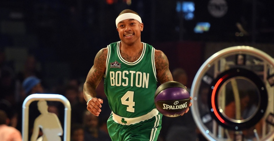 Feb 18, 2017; New Orleans, LA, USA; Boston Celtics guard Isaiah Thomas (4) competes in the skills challenge during NBA All-Star Saturday Night at Smoothie King Center. Mandatory Credit: Bob Donnan-USA TODAY Sports