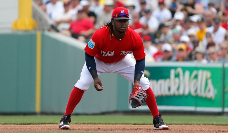 Boston Red Sox first baseman Hanley Ramirez watches an at-bat during a interleague spring training baseball game against the Pittsburgh Pirates on Monday, March 14, 2016, in Fort Myers, Fla. (AP Photo/Tony Gutierrez)